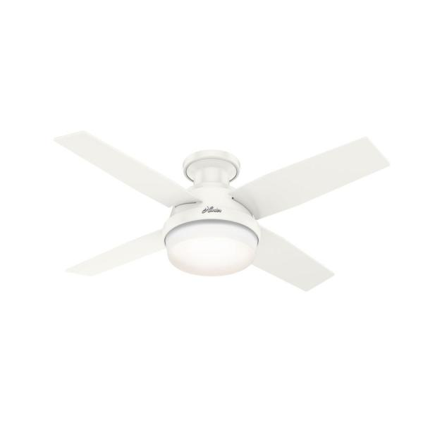Dempsey 44 in. Indoor/Outdoor Fresh White LED Low Profile Ceiling Fan with Light Kit and Remote Control
