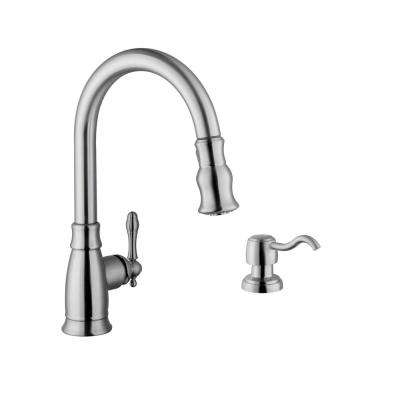 Traditional Single-Handle Pull-Down Sprayer Kitchen Faucet with Soap Dispenser in Brushed Nickel
