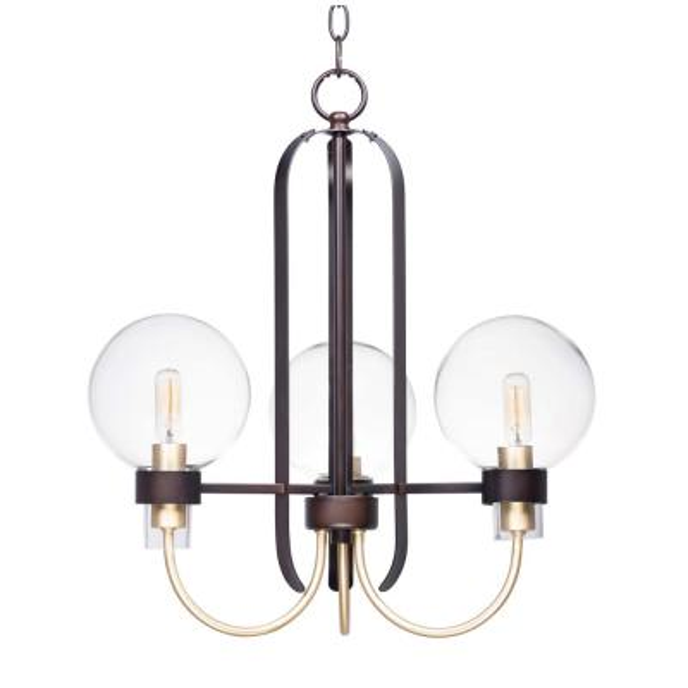 Bauhaus 20 in. W 3-Light Bronze/Satin Brass Chandelier with Clear Shade