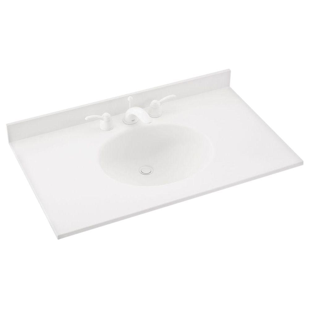 Swan Ellipse 37 in. Solid-Surface Vanity Top in White with White Basin