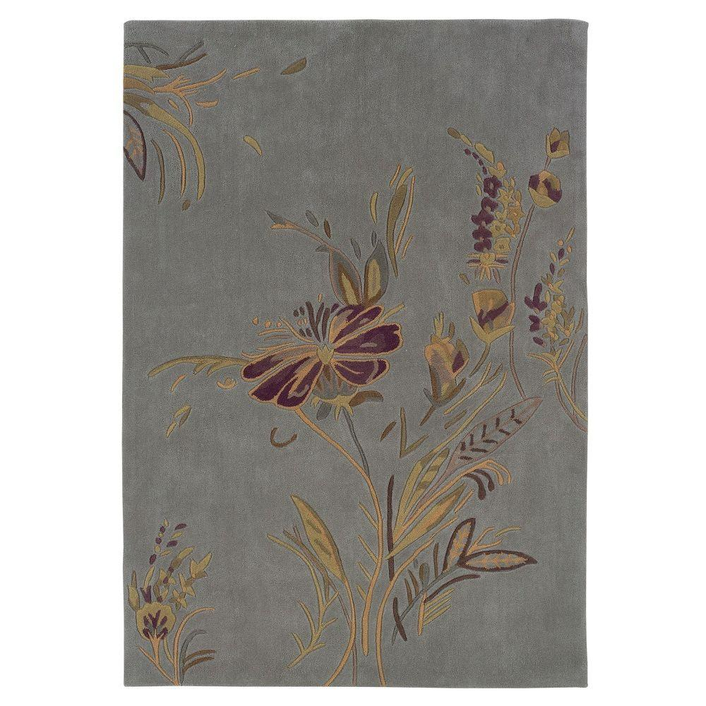 Linon Home Decor Trio Collection Plate Blue and Gold 8 ft. x 10 ft. Indoor Area Rug