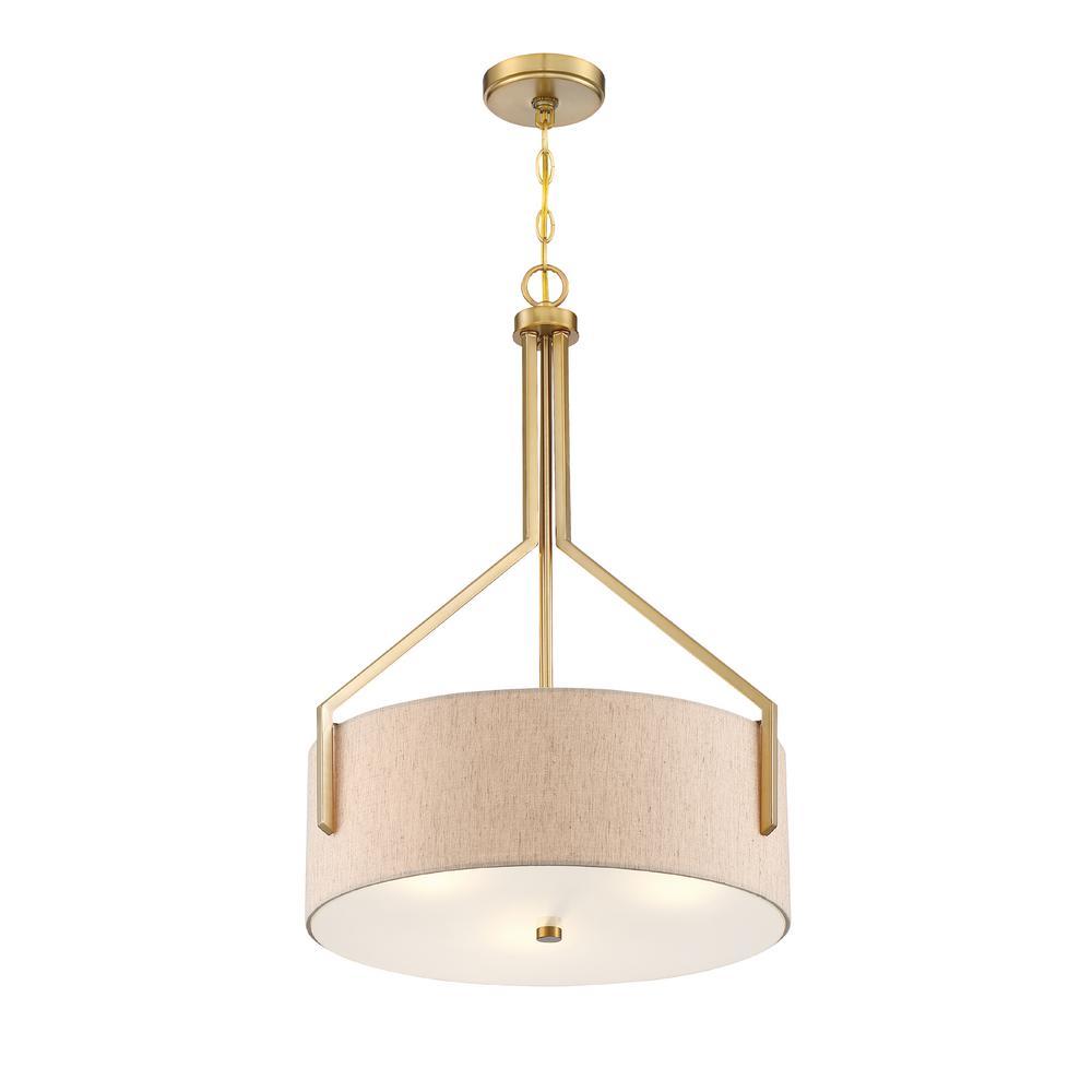 Elara 20 in. 3-Light Brushed Gold Inverted Pendant