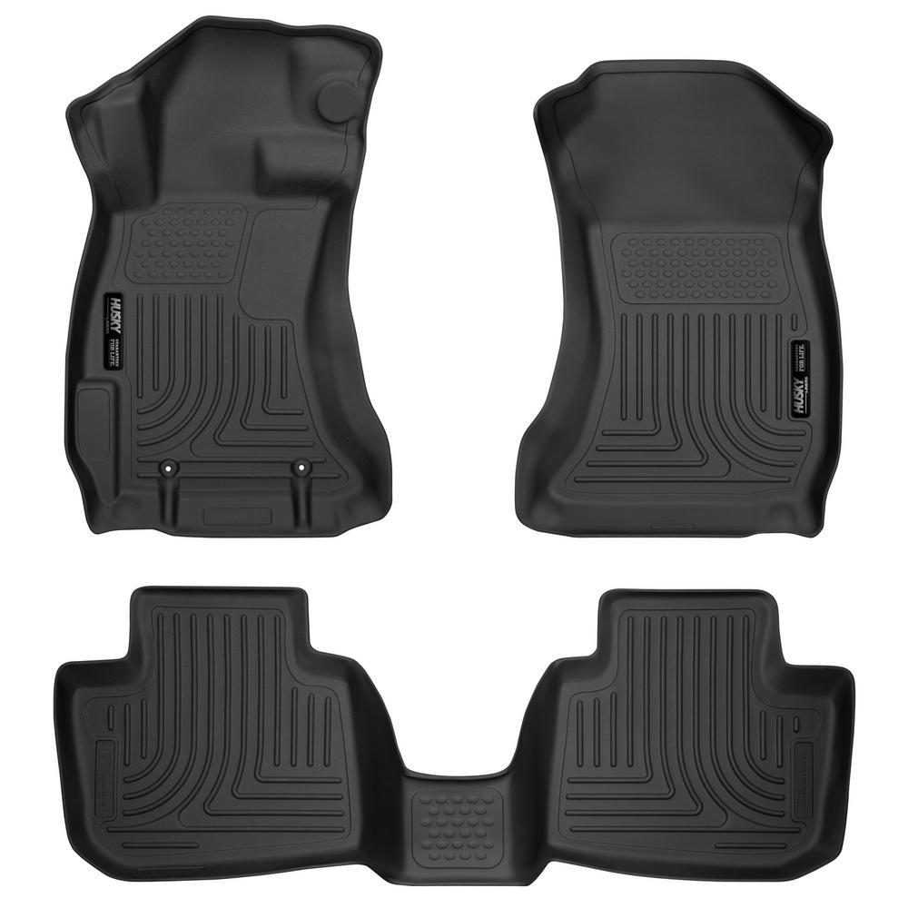 Front & 2nd Seat Floor Liners Fits 13-17 Crosstrek, 12-18 Impreza