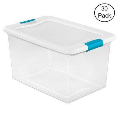 64 Qt. Latching Plastic Storage Box Container, Clear (30-Pack)
