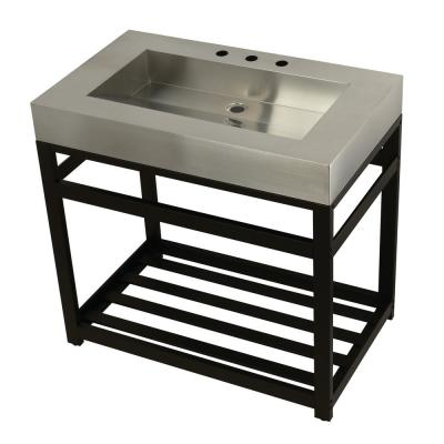 37 in. W Bath Vanity in Polished Brass with Stainless Steel Vanity Top in Silver with Silver Basin