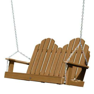 Classic Westport 48 in. 2-Person Toffee Recycled Plastic Porch Swing