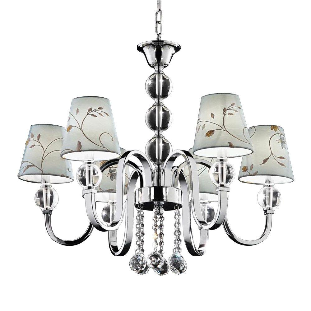 OK LIGHTING 23 in. Silver Crystal Ball Chandelier-DISCONTINUED