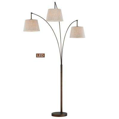 Luce 84 in. Antique Bronze LED Arched Floor Lamp with Dimmer