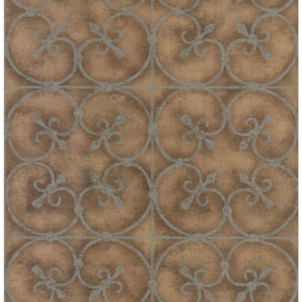 Brewster Madison Florals Blue Garden Gate Wallpaper Sample