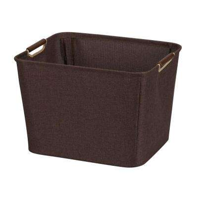 15.75 in. x 13 in. Coffee Linen Medium Tapered Bin with Handles