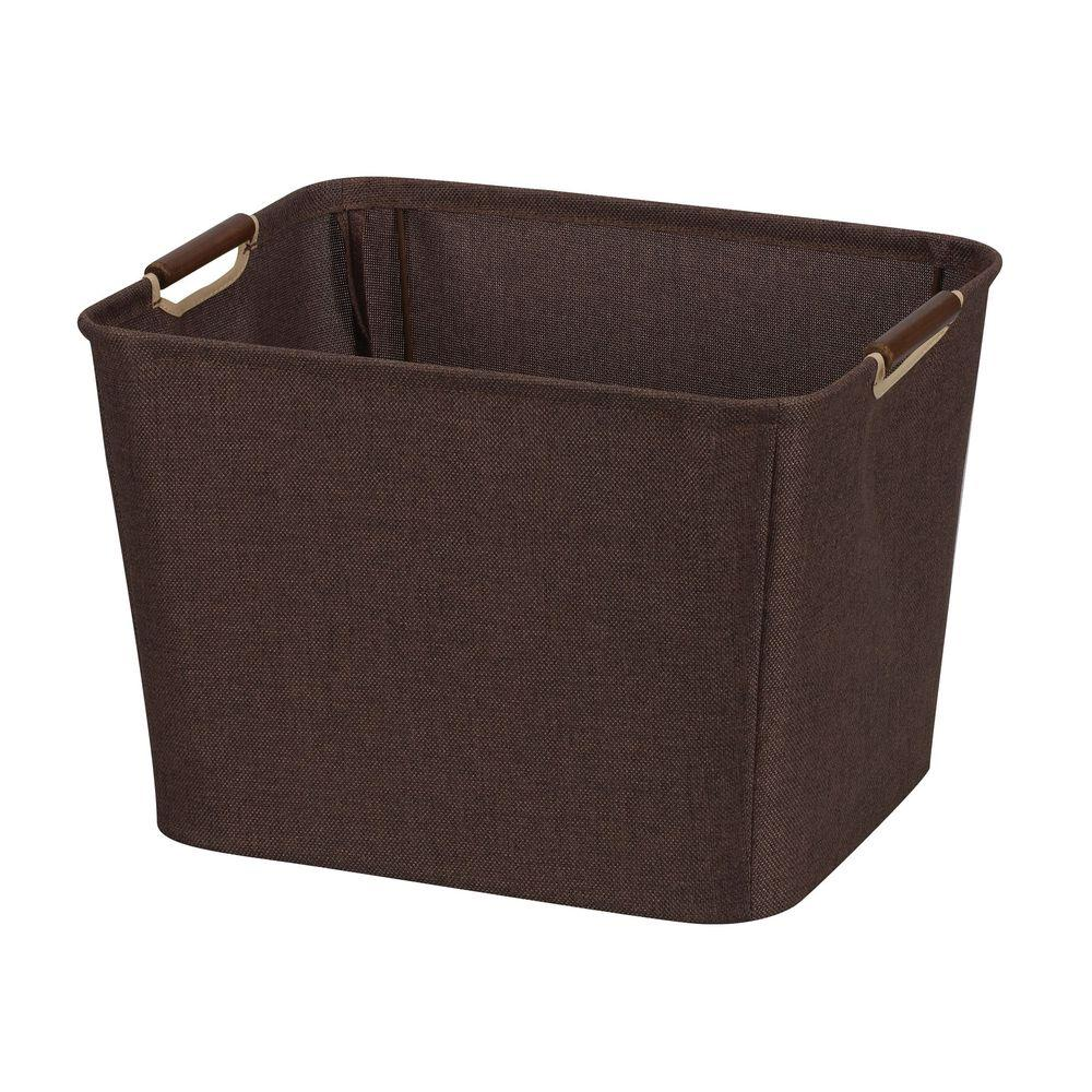 Household Essentials 15.75 in. x 13 in. Coffee Linen Medium Tapered Bin with Handles
