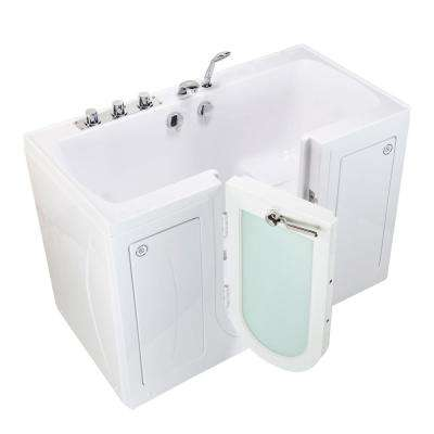 Tub4Two 60 in. Walk-In Soaking Bathtub in White Left Outward Door Heated Seat Thermostatic Faucet 2 in. Dual Drain