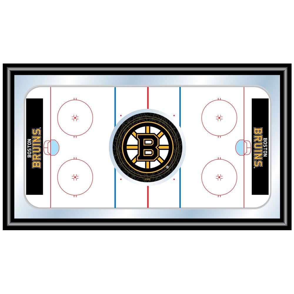 null NHL Boston Bruins 15 in. x 26 in. Black Wood Framed Mirror
