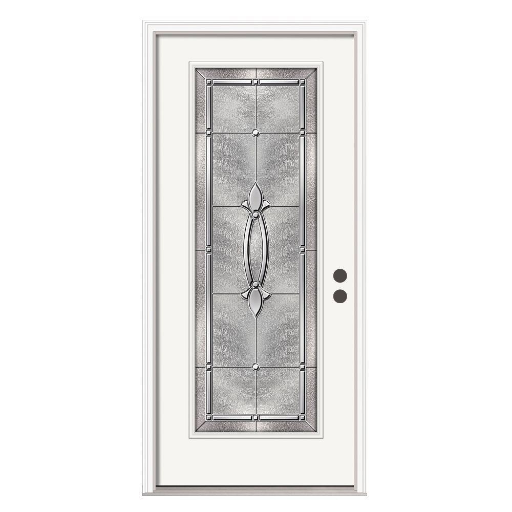 36 in. x 80 in. Full Lite Blakely Primed Steel Prehung Left-Hand Inswing Front Door w/Brickmould