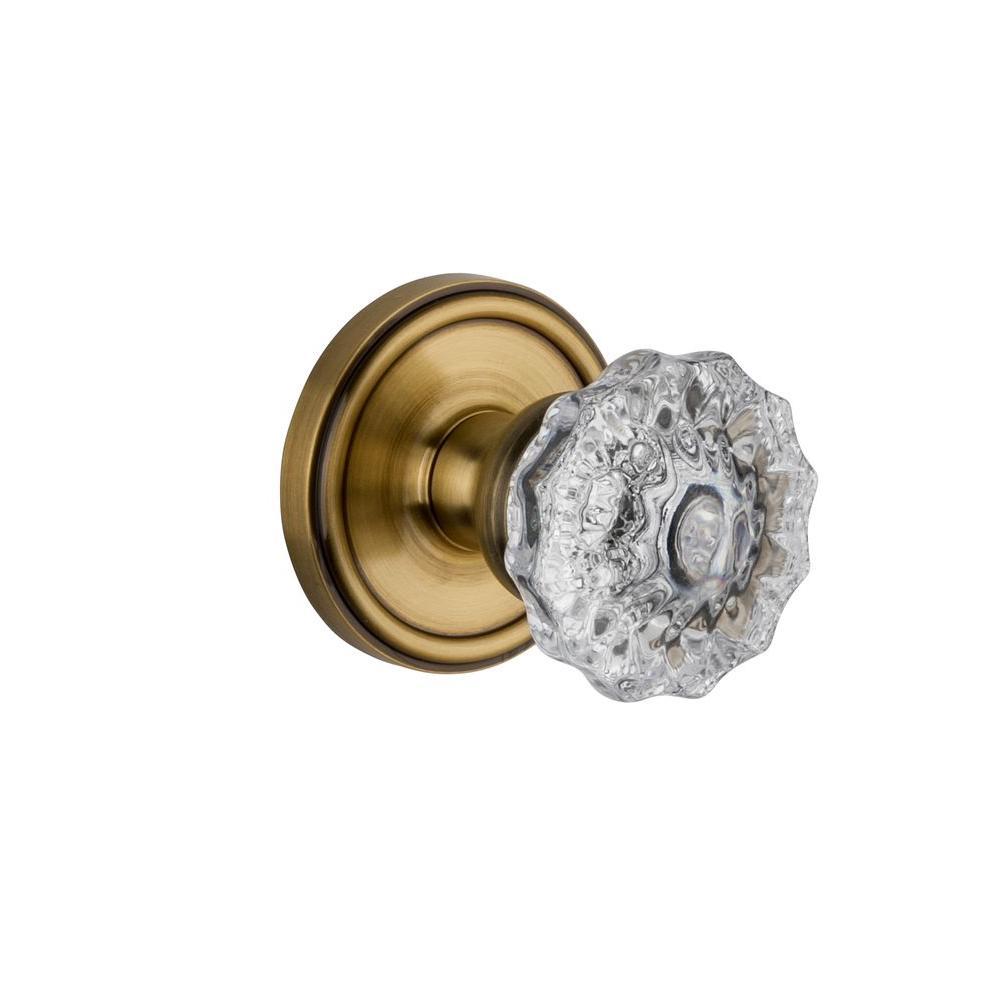 Grandeur Georgetown Rosette Vintage Brass with Double Dummy Versailles Crystal Knob