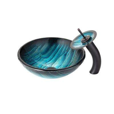 Ladon Glass Vessel Sink in Blue with Waterfall Faucet in Oil Rubbed Bronze