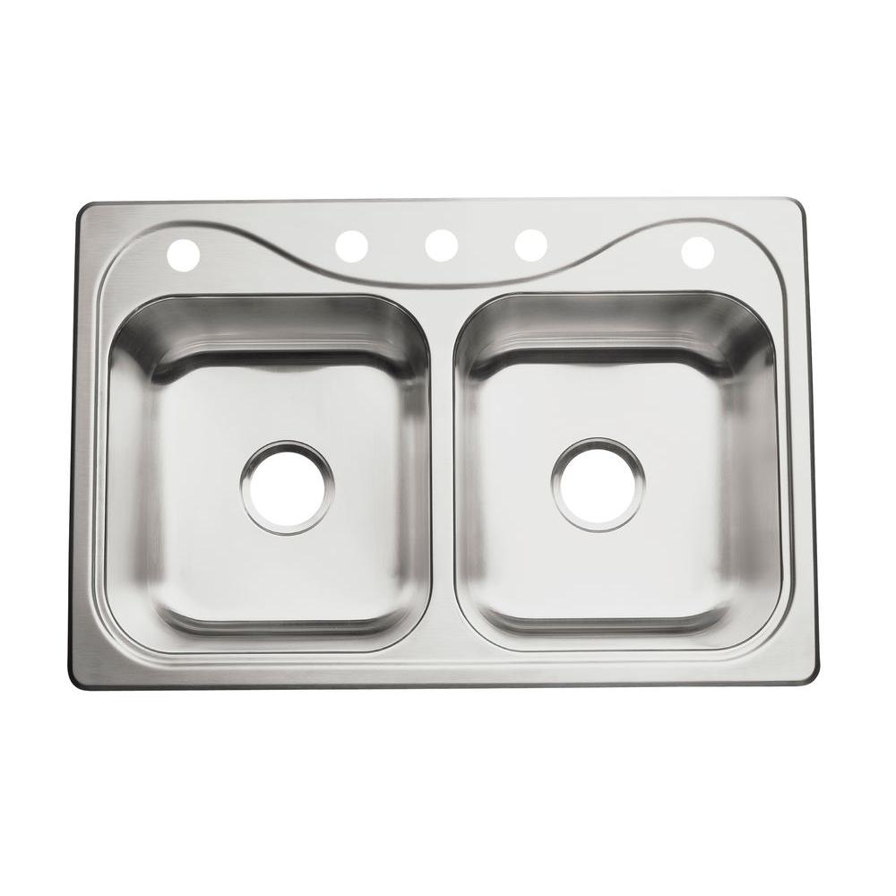 STERLING Southhaven Stainless Steel 33x22x6.5 5-Hole Double Basin Kitchen Sink