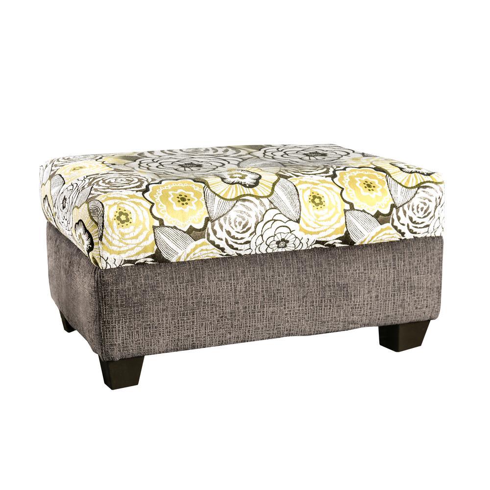 Kellis Dark Gray Floral-Patterned Ottoman