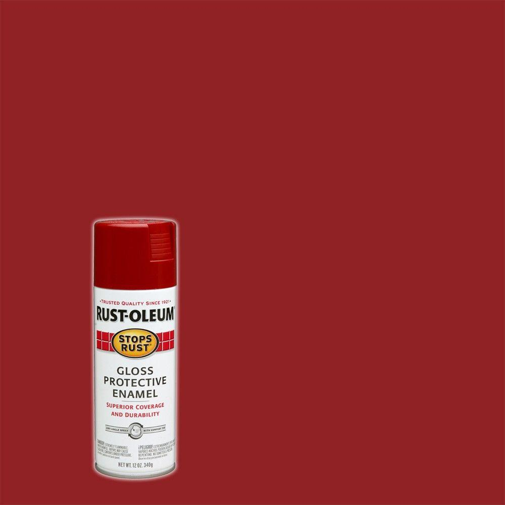 Rust Oleum Stops Rust 12 Oz Protective Enamels Gloss Regal Red Spray Paint 7765830 The Home Depot