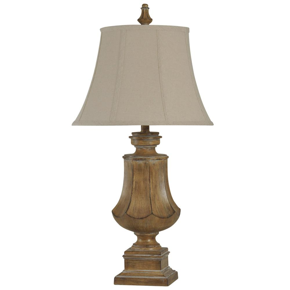 Stylecraft 32 In Natural Wood Table Lamp With Natural