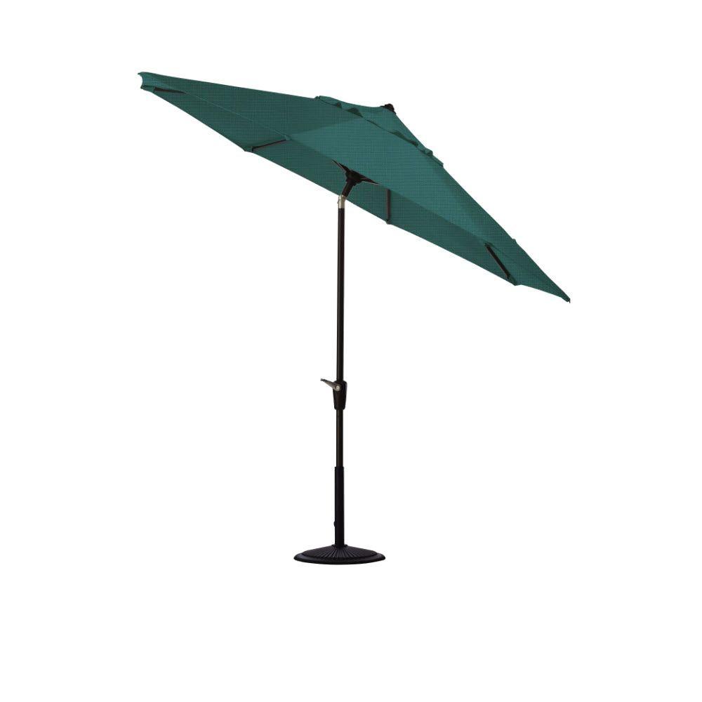 Home Decorators Collection 9 ft. Auto-Tilt Patio Umbrella in Sparkle Peacock Outdura with Black Frame