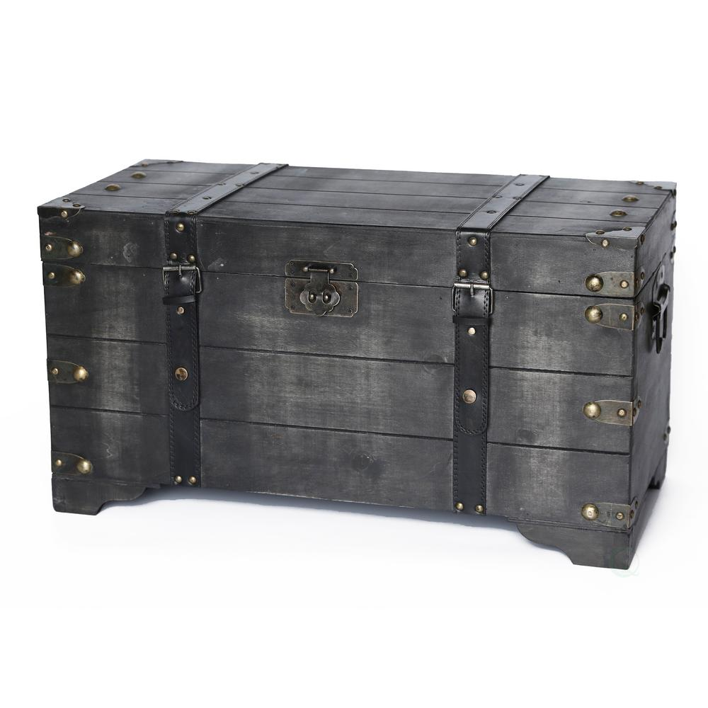 Beau Vintiquewise Distressed Black Medium Wooden Storage Trunk