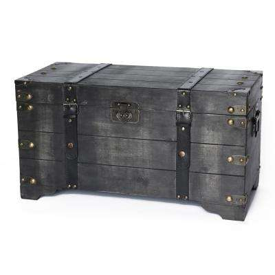 Distressed Black Medium Wooden Storage Trunk