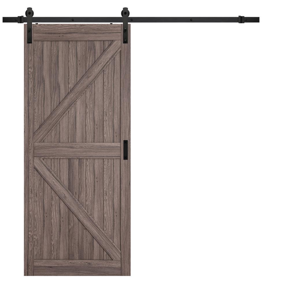 36 in. x 84 in. Taupe MDF K Design Rustic Barn Door with Modern Sliding Door Hardware Kit