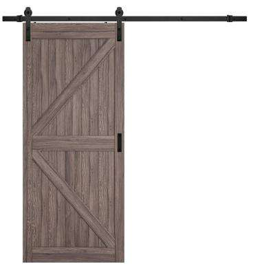 36 in. x 84 in. Taupe MDF K Design Rustic Barn Door with Modern Sliding Door Hardware Kit