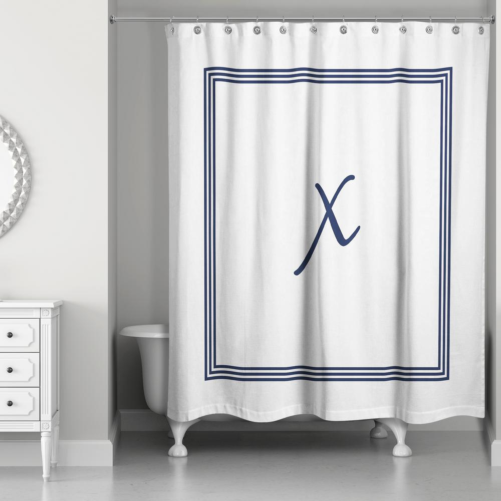 DESIGNS DIRECT 71 in W x 74 in L Navy Blue and White