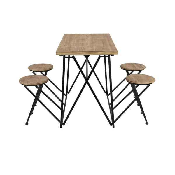 Litton Lane Industrial Brown Wood And Black Metal Dining Table Set With 4 Retractable Nesting Stools 43668 The Home Depot