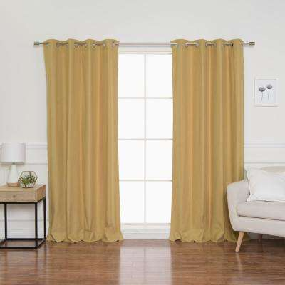 Herringbone 52 in. W x 84 in. L Curtains in Mustard (2-Pack)