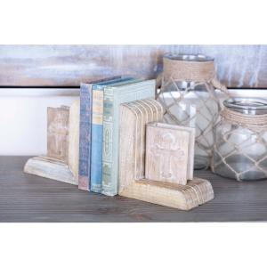 7 inch x 4 inch Brown Wooden Bookends (Set of 2) by
