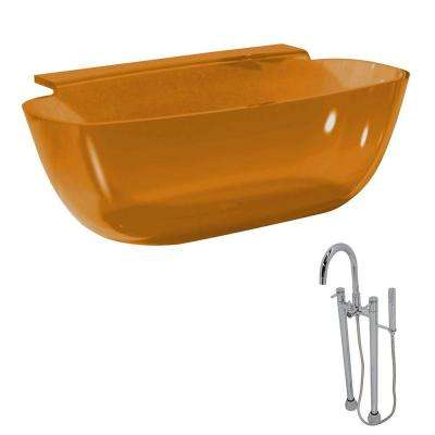 Vida 62 in. Man-Made Stone Classic Flatbottom Non-Whirlpool Bathtub in Honey Amber and Sol Faucet in Chrome