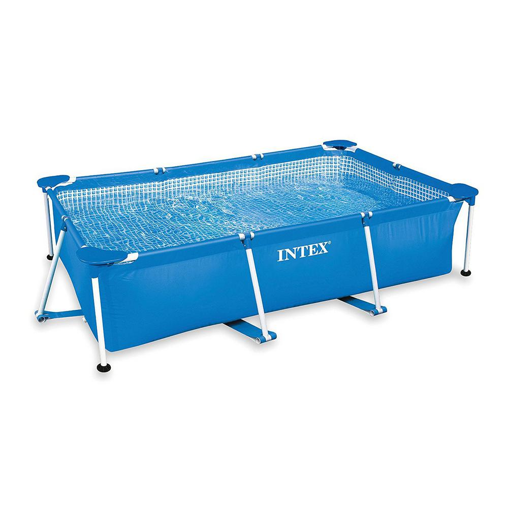 Intex Intex 8.5 ft. x 5.3 ft. x 2.13 ft. Rectangular Frame Above Ground Swimming Pool, Blue