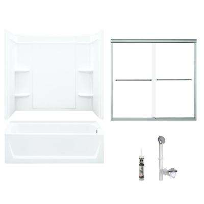 Ensemble 32 in. x 60 in. x 73 in. Bath and Shower Kit with Right-Hand Drain and Backers in White and Chrome