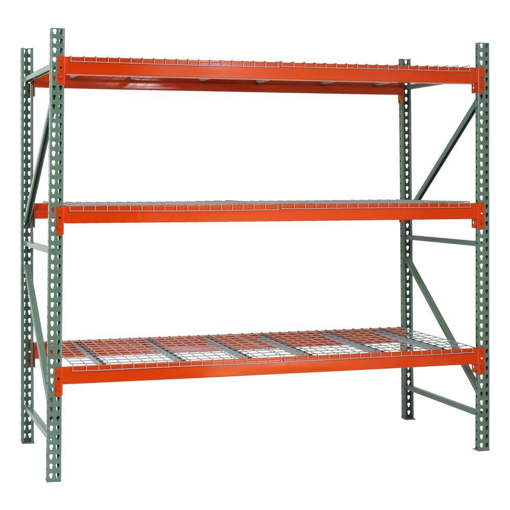 96 in. H x 108 in. W x 42 in. D 3-Shelf Steel Pallet Rack Shelving Starter Kit in Green/Orange