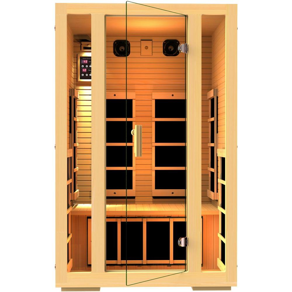 jnh lifestyles joyous 2 person far infrared sauna mg215hb the home depot. Black Bedroom Furniture Sets. Home Design Ideas