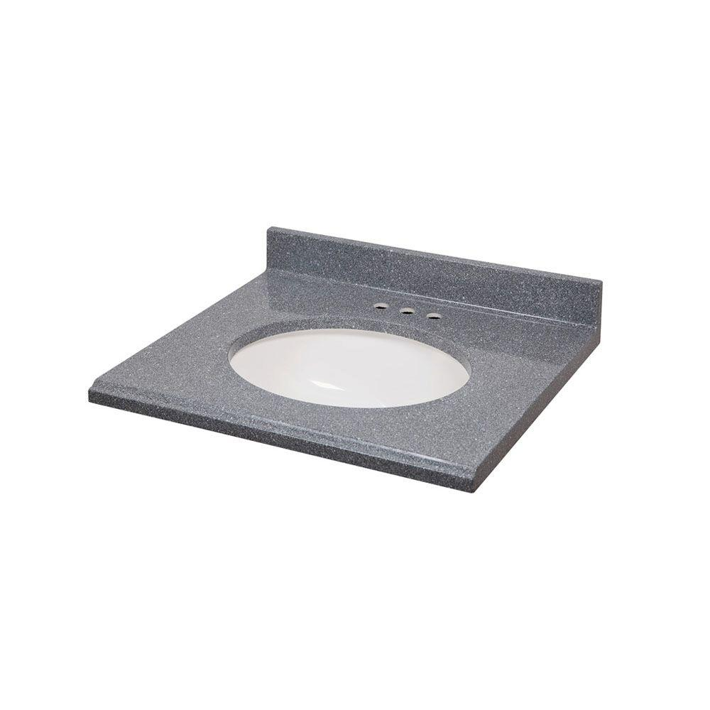 St. Paul 25 in. Colorpoint Technology Vanity Top in Gray with Undermount Bowl in White-DISCONTINUED
