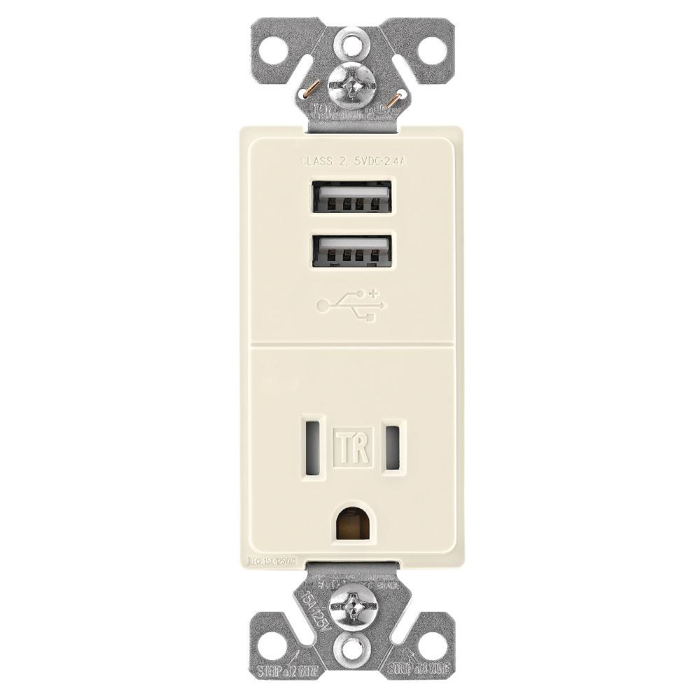 2.4 Amp USB Charger with Single Receptacle, Light Almond