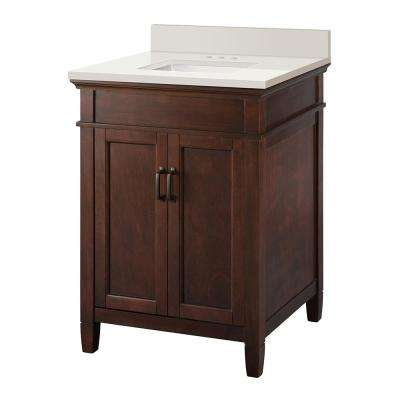 Ashburn 25 in. W x 22 in. D Vanity Cabinet in Espresso and Engineered Marble Vanity Top in Winter White with White Basin