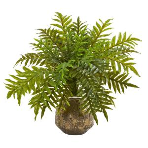 24 in. Hares Foot Fern Artificial Plant in Vase (Real Touch)