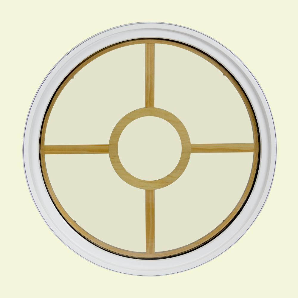 24 in. x 24 in. Round White 4-9/16 in. Jamb 5-Lite