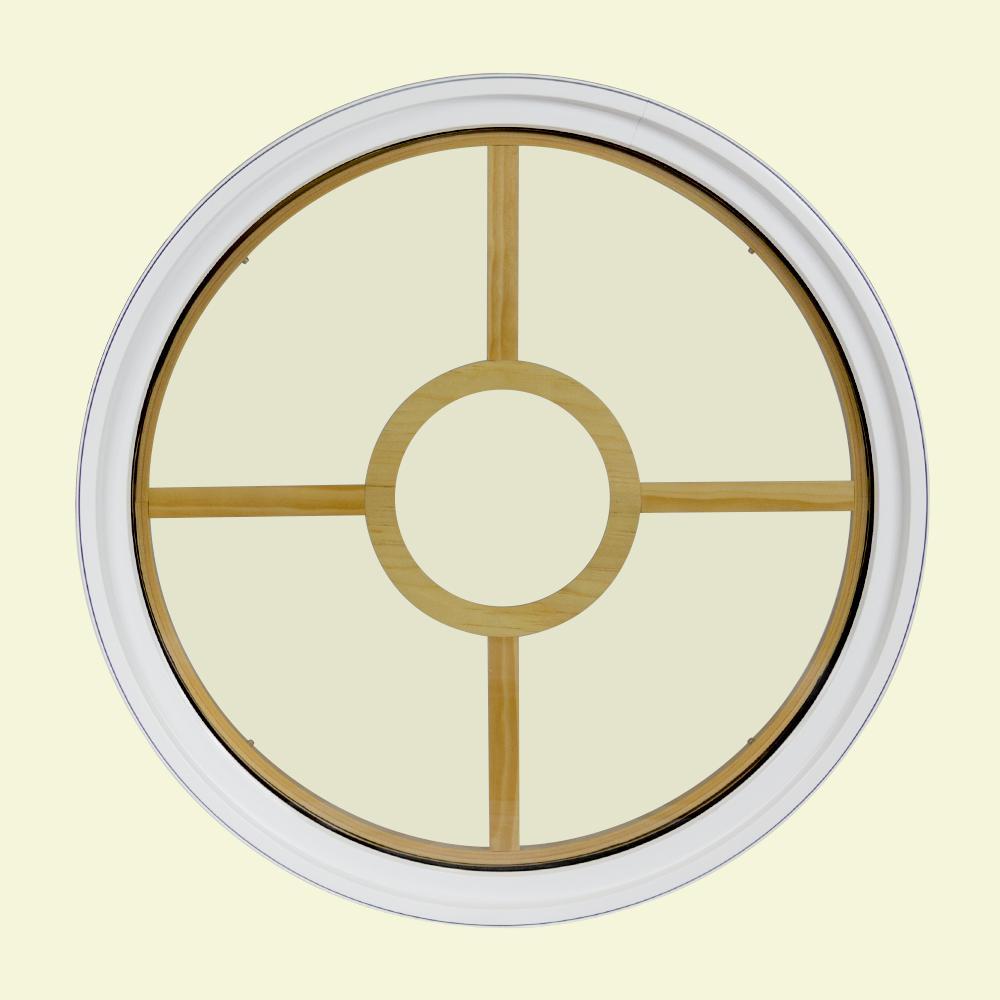 24 in. x 24 in. Round White 6-9/16 in. Jamb 2-1/4 in. Interior Trim 5-Lite Grille Geometric Aluminum Clad Wood Window