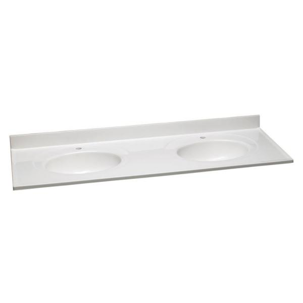 61 in. W Single Faucet Hole Cultured Marble Solid White Vanity Top with Solid White Double Basins