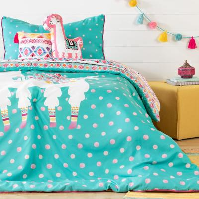 DreamIt 5-Piece Festive Llama Turquoise and Pink Twin Bedding Set