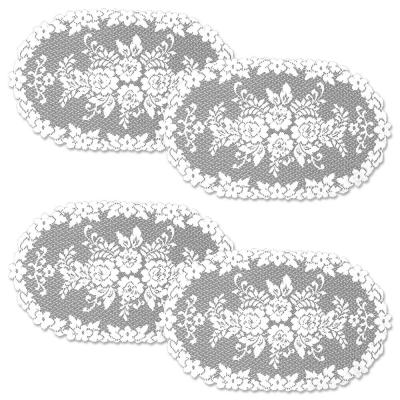 Victorian Rose 13 in. x 24 in. White Doily (Set of 4)
