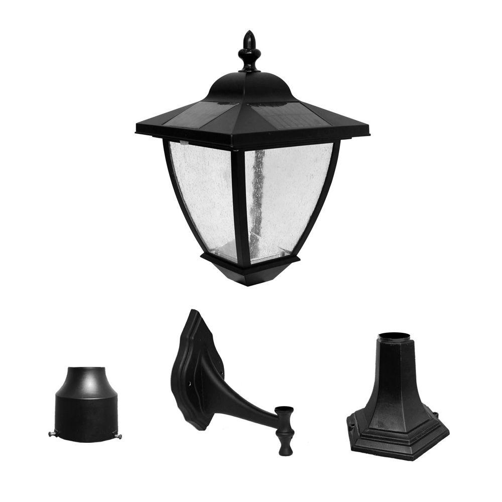 Outdoor Black Solar Lamp With Super Bright Natural White Led And 3 Mounting Options 23206 The Home Depot