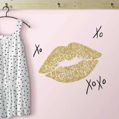 5 in. x 11.5 in. XOXO Lips 10-Piece Peel and Stick Wall Decals with Glitter