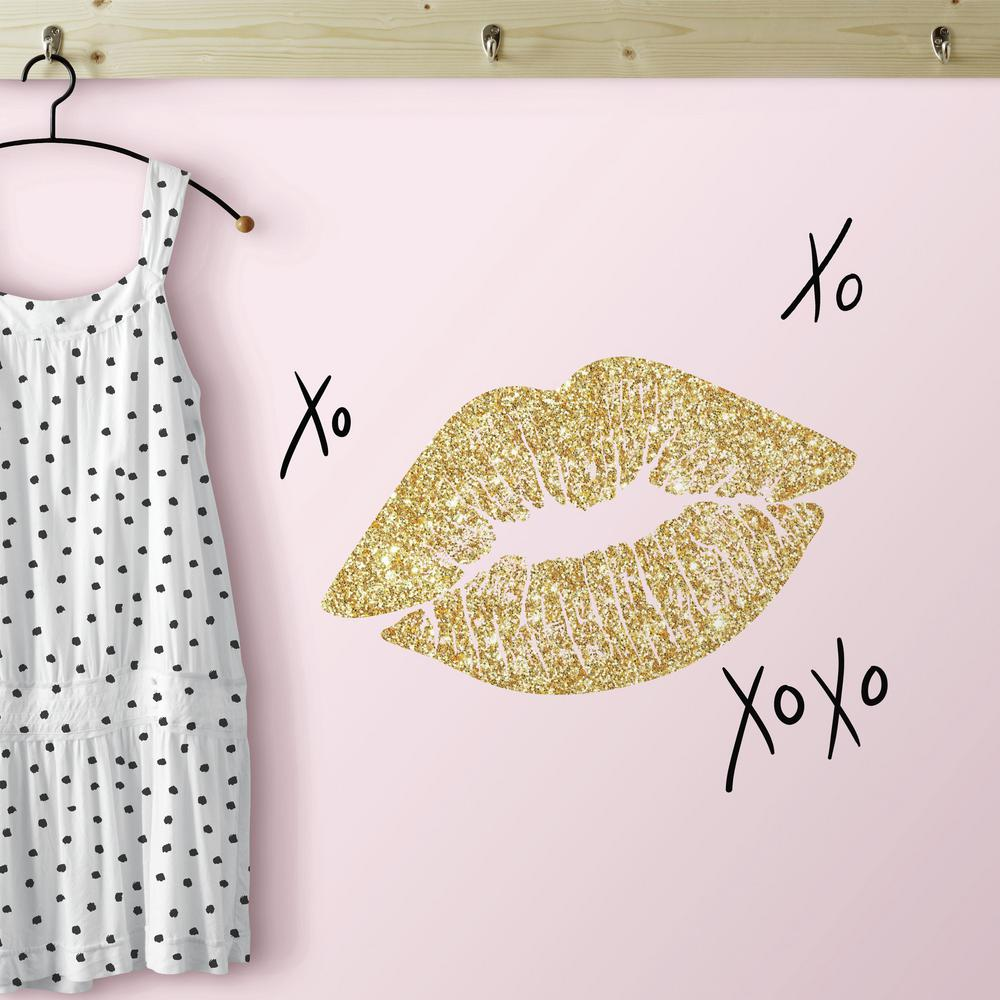 RoomMates 5 in. x 11.5 in. XOXO Lips 10-Piece Peel and Stick Wall ...